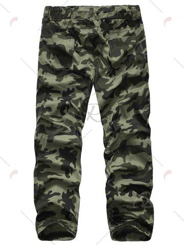 Affordable Camouflage Drawstring Beam Feet Jogger Pants - 38 ARMY GREEN CAMOUFLAGE Mobile