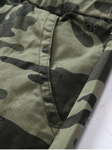 Shop Camouflage Drawstring Beam Feet Jogger Pants - 38 ARMY GREEN CAMOUFLAGE Mobile