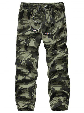 Shop Camouflage Drawstring Beam Feet Jogger Pants ARMY GREEN CAMOUFLAGE 34