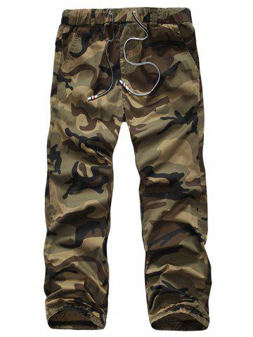 New Camouflage Drawstring Beam Feet Jogger Pants - 38 CLEMENTINE Mobile