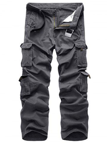 Hot Multi Pockets Zipper Fly Straight Leg Cargo Pants - 40 GRAY Mobile