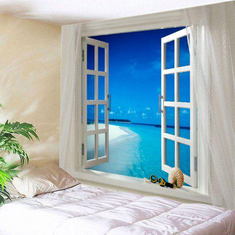 Window Sea Beach Print Tapestry Wall Hanging Art Decoration - Blue - W79 Inch * L59 Inch