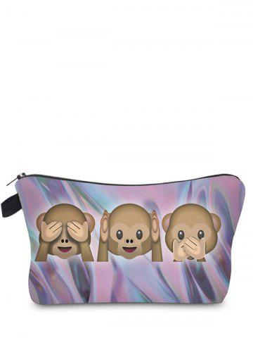 New Emoji Print Clutch Makeup Bag - DARK VIOLET  Mobile
