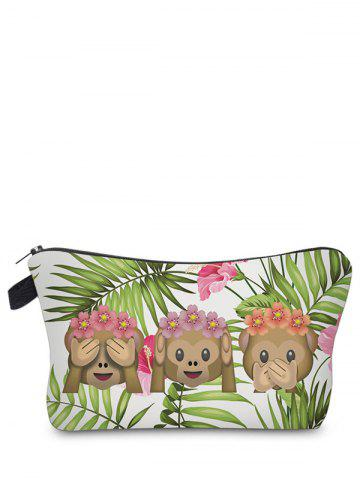 Shop Emoji Print Clutch Makeup Bag GRASS GREEN