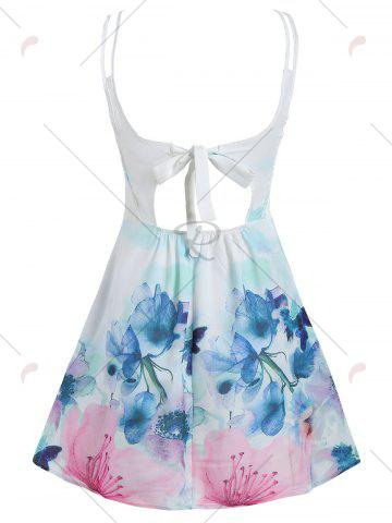 Best Tied Spaghetti Strap Floral A Line Dress - S WHITE Mobile