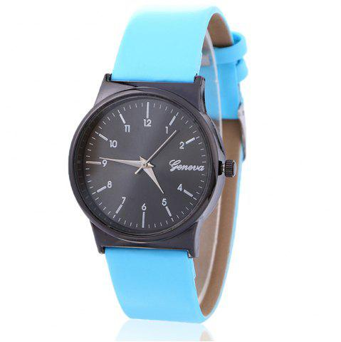 Faux Leather Strap Number Round Shape Watch - Azure