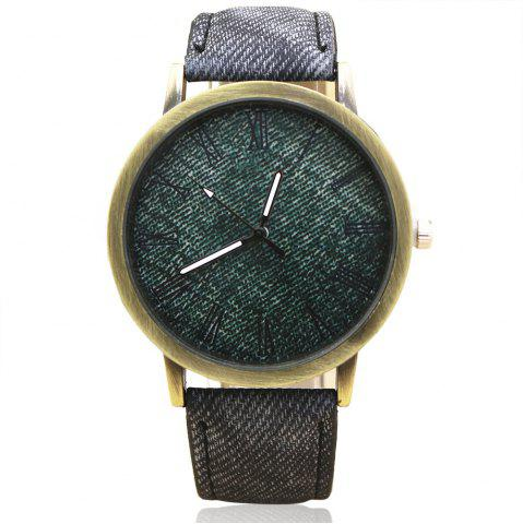 Faux Leather Strap Roman Numeral Analog Watch - Gray - M