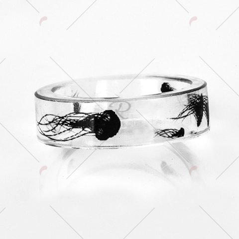 Outfits Jellyfish Print Transparent Resin Ring - 7 TRANSPARENT Mobile