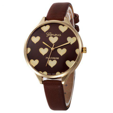 Faux Leather Strap Heart Face Watch - Brown