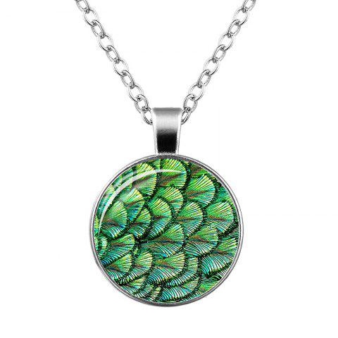 Faux Gem Feather Peacock Pendant Necklace - Green