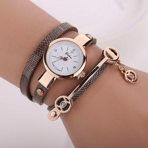 Online Faux Leather Strap Round Wrap Bracelet Watch