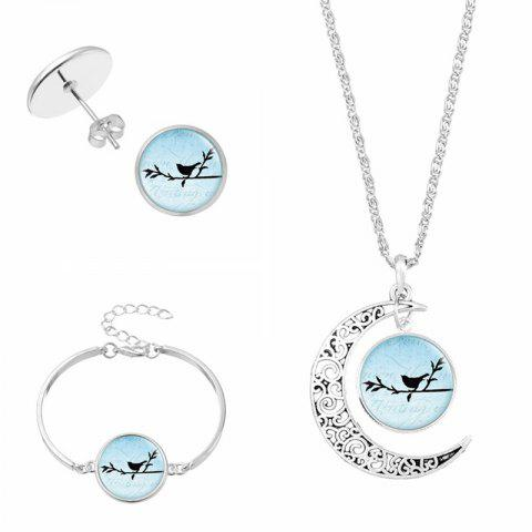 Moon Bird Necklace Earring and Bracelet Set - #01 - L