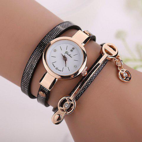 Faux Leather Strap Round Wrap Bracelet Watch - Black