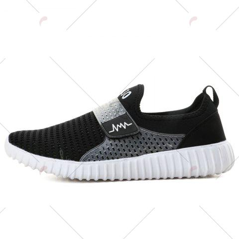 New Breathable Figure Pattern Casual Shoes - 42 BLACK WHITE Mobile