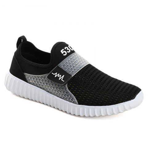 Latest Breathable Figure Pattern Casual Shoes - 42 BLACK WHITE Mobile