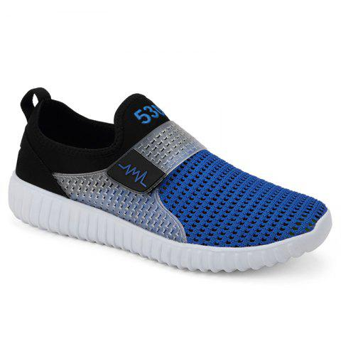 Shop Breathable Figure Pattern Casual Shoes - 43 BLUE AND BLACK Mobile
