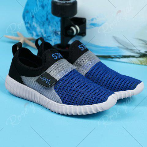 Latest Breathable Figure Pattern Casual Shoes - 43 BLUE AND BLACK Mobile