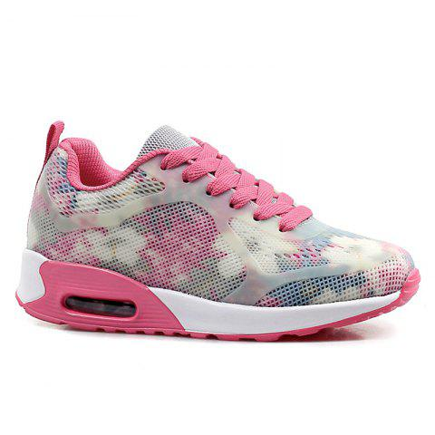Cheap Floral Print Air Cushion Athletic Shoes RED WITH WHITE 40
