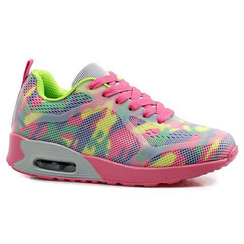Outfit Floral Print Air Cushion Athletic Shoes - 40 RED AND GREEN Mobile
