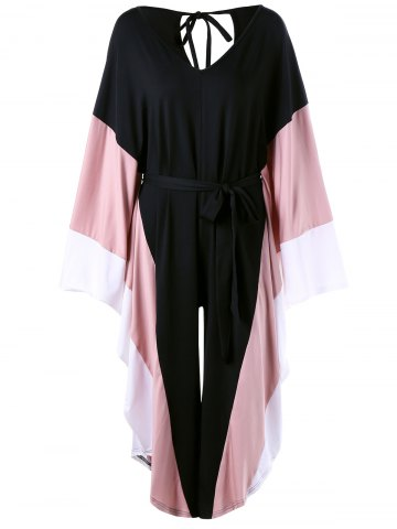 Sale Cut Out Batwing Sleeve Palazzo Jumpsuit - ONE SIZE BLACK Mobile