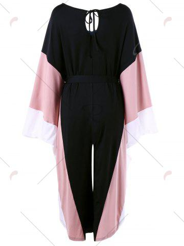 Chic Cut Out Batwing Sleeve Palazzo Jumpsuit - ONE SIZE BLACK Mobile