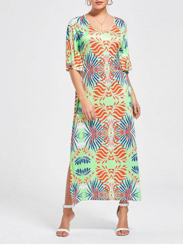 V-neck Slit Imprimé Maxi Dress Multicolore S