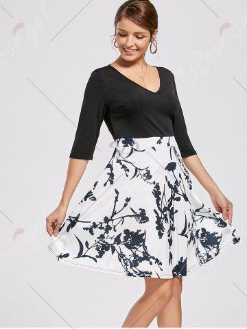 Best High Waist Printed Dress - XL WHITE Mobile