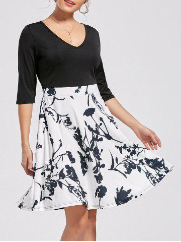 Buy High Waist Printed Dress - XL WHITE Mobile