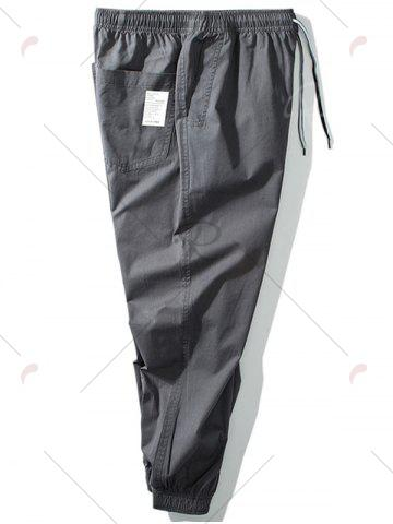 Chic Taper Fit Drawstring Waist Jogger Pants - 5XL GRAY Mobile