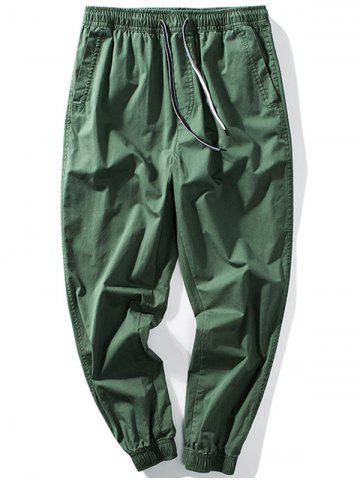 Chic Taper Fit Drawstring Waist Jogger Pants - 5XL GREEN Mobile