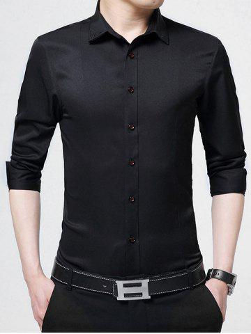 Long Sleeve Embroidery Business Shirt - Black - L
