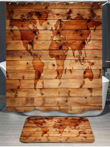 World Map Pattern Shower Curtain and Rug - Wood Color - W71 Inch * L79 Inch