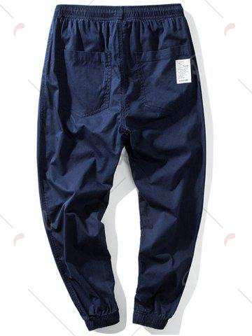 New Taper Fit Drawstring Waist Jogger Pants - 5XL DEEP BLUE Mobile