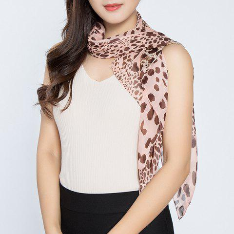 Latest Cheetah Print Color Block Chiffon Square Scarf PINK