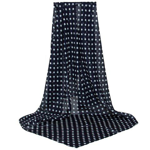 Sale Full Polka Dot Print Chiffon Square Scarf BLACK