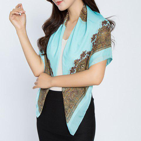 Fashion Vintage Rhombus Print Chiffon Square Scarf LIGHT BLUE