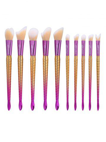 10Pcs Ombre Handle Mermaid Makeup Brushes Set - Colormix