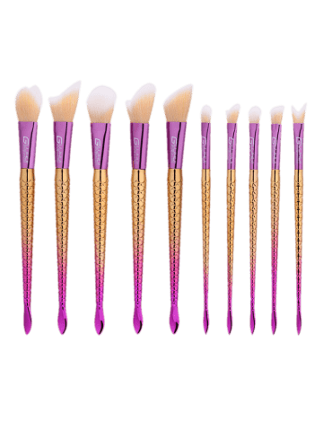Sale 10Pcs Ombre Handle Mermaid Makeup Brushes Set - COLORMIX  Mobile