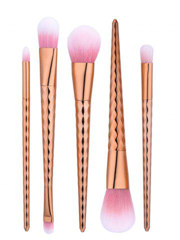 Fancy 5Pcs Wave Tapered Handle Makeup Brushes Set - ROSE GOLD  Mobile