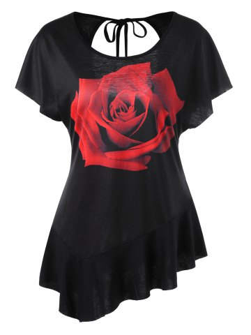 Hot Asymmetrical Rose Cut Out T-shirt - 2XL BLACK Mobile