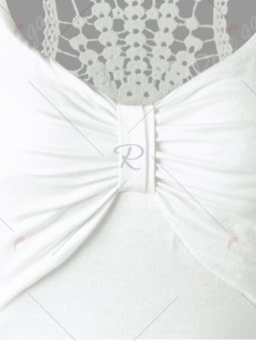 Latest Racerback Lace Insert High Low Dress - ONE SIZE WHITE Mobile