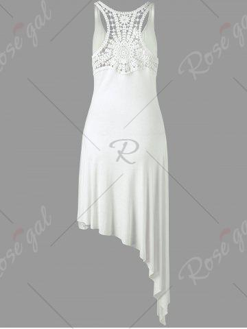 Sale Racerback Lace Insert High Low Dress - ONE SIZE WHITE Mobile