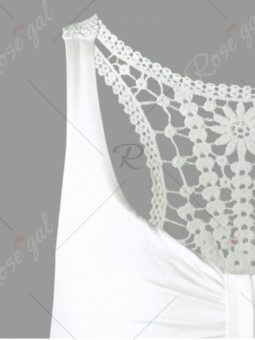 Online Racerback Lace Insert High Low Dress - ONE SIZE WHITE Mobile