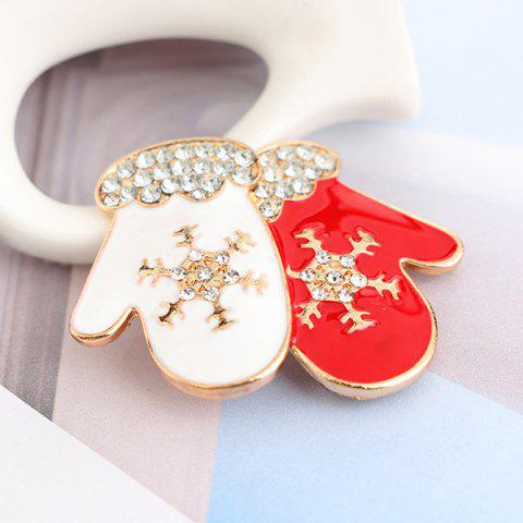 Latest Rhinestone Snowflake Gloves Brooch - RED  Mobile