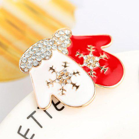Affordable Rhinestone Snowflake Gloves Brooch - RED  Mobile