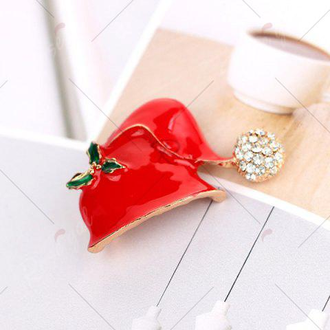 Affordable Rhinestone Christmas Hat Brooch - RED  Mobile