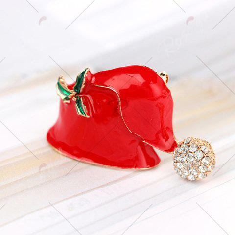 Fancy Rhinestone Christmas Hat Brooch - RED  Mobile