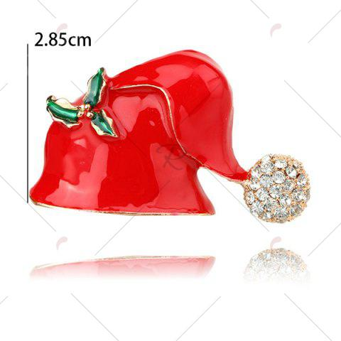 Cheap Rhinestone Christmas Hat Brooch - RED  Mobile