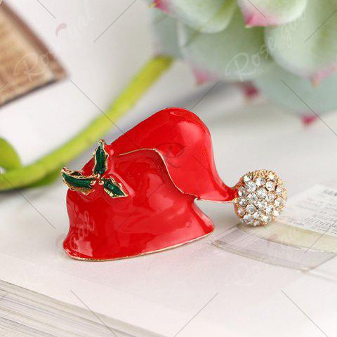 Store Rhinestone Christmas Hat Brooch - RED  Mobile