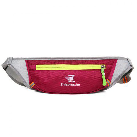 Color Block Waist Bag with Headphone Hole - Wine Red - 40